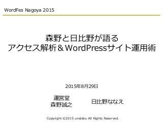 森野と日比野が語る アクセス解析&WordPressサイト運用術