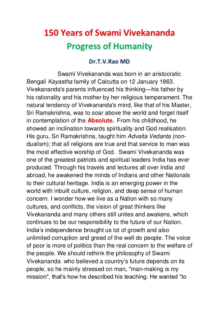 Essay on Swami Vivekananda   s views on character development of youth