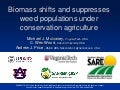 Biomass shifts and suppresses weed populations under CA. Michael Mulvaney