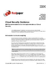 Cloud Security Guidance: IBM Recommendations For The Implementation Of Cloud Security