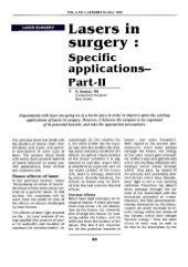 Lasers in Surgery Specific Applications Part-II - Sanjoy Sanyal