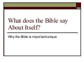 What Does The Bible Say About Itself