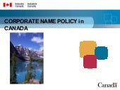 2.5 corporate name policy (canada)