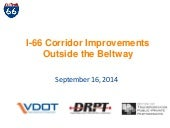I-66 Corridor Improvements Outside the Beltway