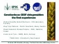 Genebanks as GBIF data providers, the first experiences, at the TDWG 2004 conference