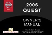 2006 QUEST OWNER'S MANUAL
