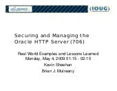 Securing and Managing the Oracle HT...