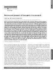 Review and prospect of transgenic r...