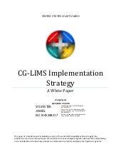 CG-LIMS Implementation Strategy
