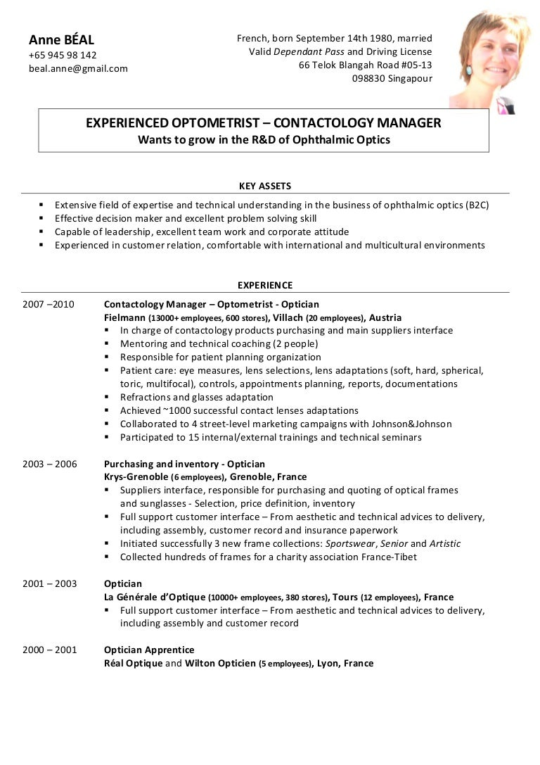 Optometrist Resume Sample Responsibilities Optician