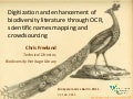 Digitization and enhancement of biodiversity literature through OCR, scientific names mapping and crowdsourcing