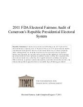 Cameroon--2011 Global FDA Electoral...