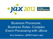Business processes, business rules, complex event processing, the JBoss way
