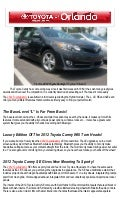 2012 Toyota Camry In Orlando!