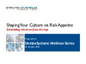 Shaping Your Culture via Risk Appetite