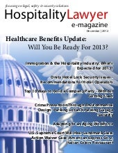 HospitalityLawyer.com | December 2012 Issue Hospitality Lawyer Magazine