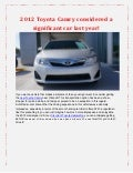 2012 Toyota Camry considered a significant car last year!