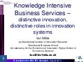 KIBS - Knowledge Intensive Business Services - role in innovation systems