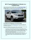 2013 Toyota Highlander in Orlando is a top SUV pick!