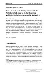 An Integrated Approach to Studying Multiplexity in Entrepreneurial Networks