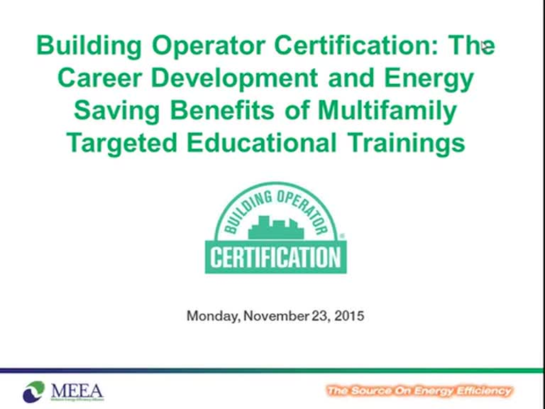 Building Operator Certification: The Career Development and Energy Sa…