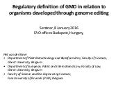 Regulatory definition of GMO - Piet van der Meer