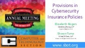Provisions in Cyber Insurance Policies - State Bar of Texas Annual Meeting 2015 #SBOT15