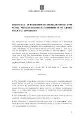 Resolution 1/XI of the Parliament of Catalonia, on the start of the political process in Catalonia