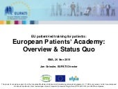 EUPATI Status Update at EMA PCWP Meeting, 26 Nov 2015