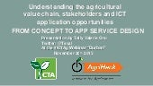 Understanding the agricultural value chain, stakeholders and ICT application opportunities - From concept to app service design