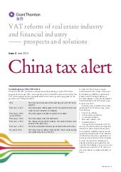 China: VAT reform of real estate industry and financial industry - prospects & solutions