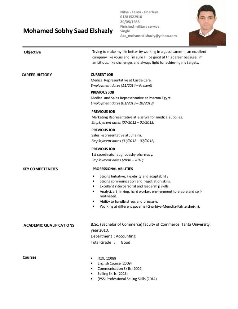 image gallery medical cv - Resume Format For Medical Representative