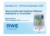 RWE Innogy: How to build and install an offshore substation in 16 months!