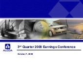 Q3 2009 Earning Report of Alcoa, Inc.