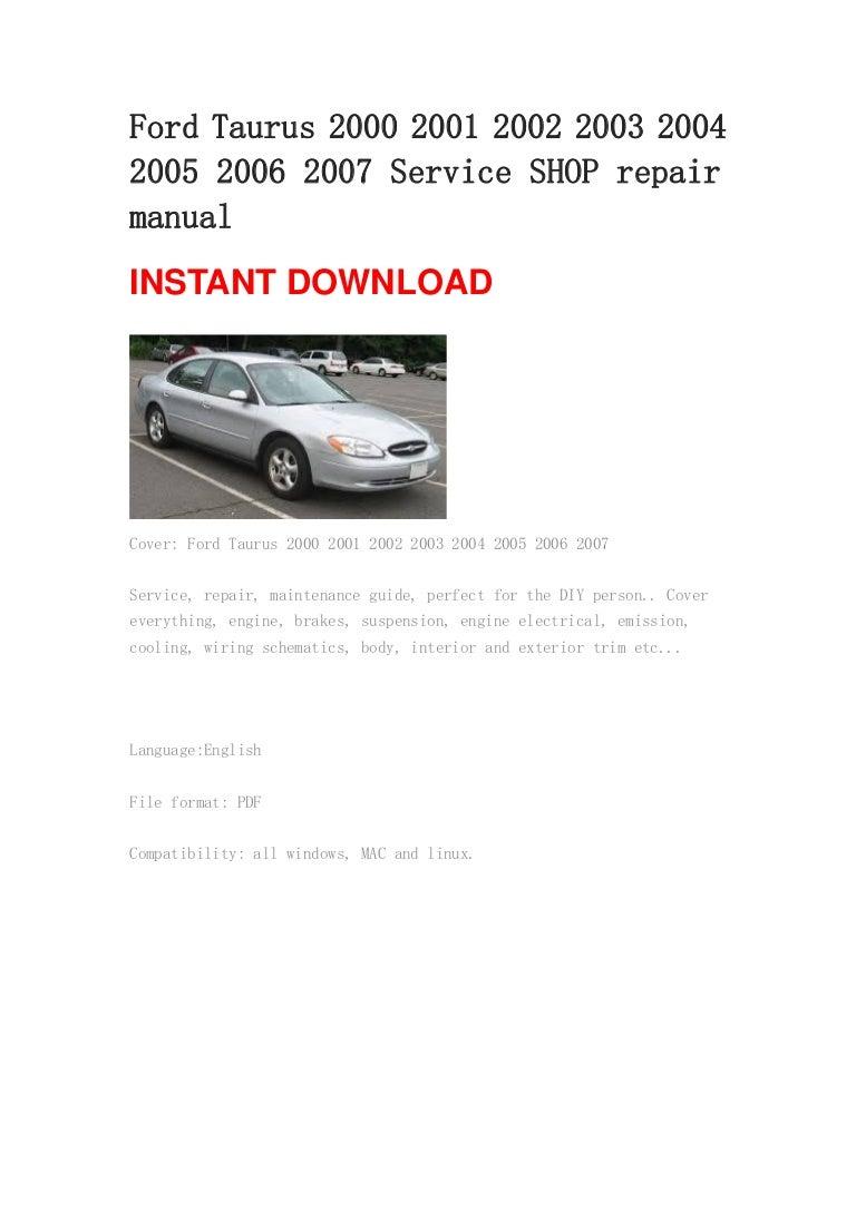 Ford Taurus 2000 2001 2002 2003 2004 2005 2006 2007 repair manual