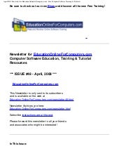 April 2008 Newsletter for Education...