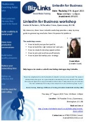 27th August LinkedIn City Centre Workshop