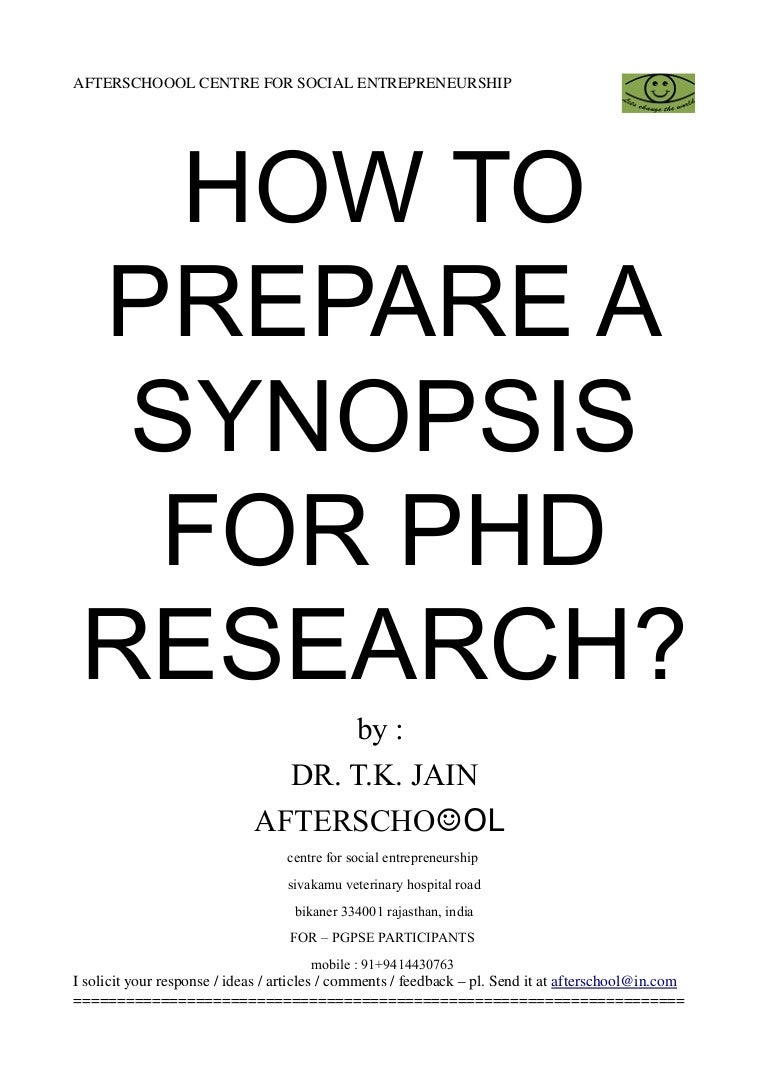 Synopsis of phd thesis