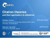 Rodrigo Costas & Stefanie Haustein: Citation theories and their application to altmetrics