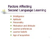 3 Factors Affecting L2 Learning