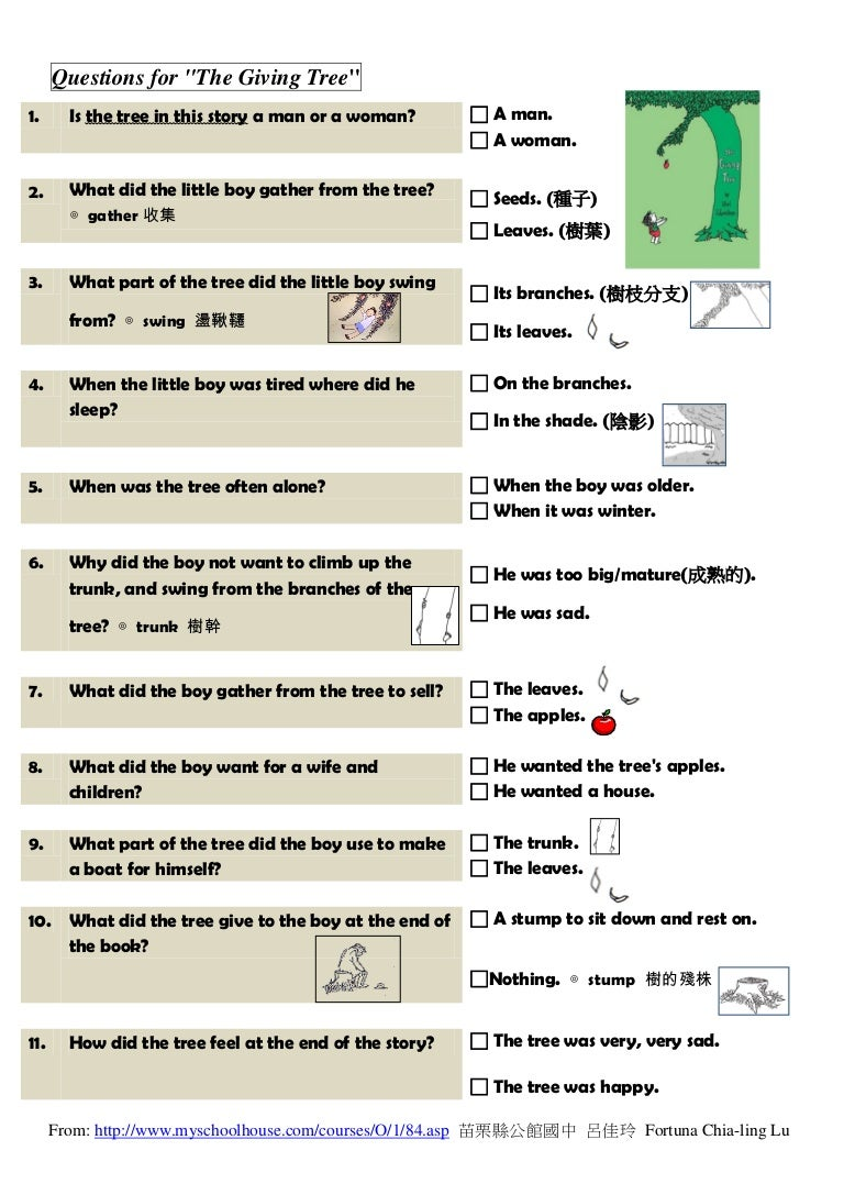 Worksheet The Giving Tree Worksheets 3 questions for the story part3 reading comprehension