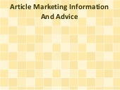 Article Marketing Information And A...