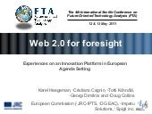 WEB 2.0 FOR FORESIGHT: EXPERIENCES ...