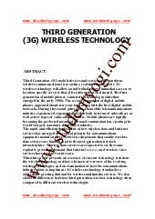3g Wireless Technology Paper Presen...