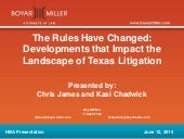The Rules Have Changed: Developments that Impact the Landscape of Texas Litigation