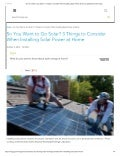 3 things to consider when installing solar power at home