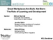 Great Workplaces Are Built, Not Bor...