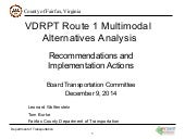 VDRPT Route 1 Multimodal Alternatives Analysis