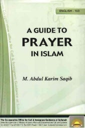 A GUIDE TO PRAYER IN ISLAM