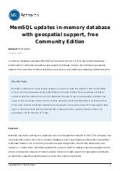 MemSQL updates in-memory database with geospatial support, free Community Edition